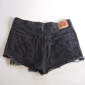 Black Distressed Levi's 501 Cutoff Shorts 32